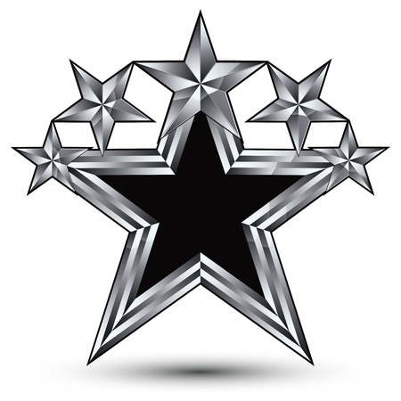 escutcheon: Royal black star with silver outline, geometric five stylized silver stars, best for use in web and graphic design, 3d luxury conceptual vector icon isolated on white background. Symbolic escutcheon.