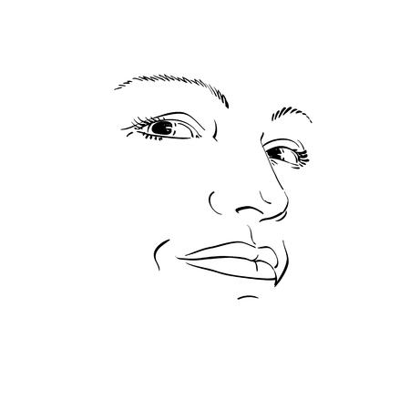 persona deprimida: La expresión facial, dibujado a mano ilustración de la cara de la muchacha con las expresiones emocionales. Hermosas características del rostro de la señora. Mujer Triste, triste máscara.