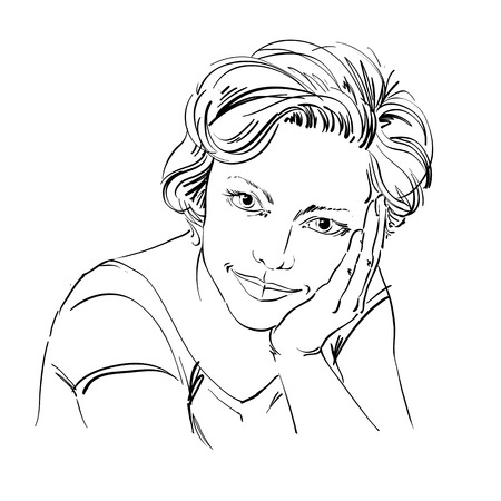 goodlooking: Portrait of delicate dreamy good-looking woman, black and white vector drawing. Emotional expressions idea image.