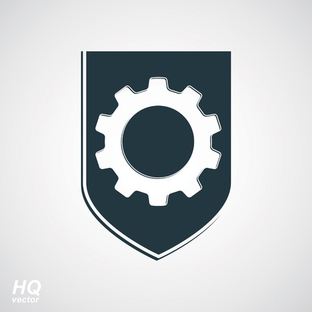 escutcheon: High quality graphic gear symbol on a shield, heraldic escutcheon with an engineering design element. Engine component symbol – industrial cog wheel. Defense emblem. Illustration