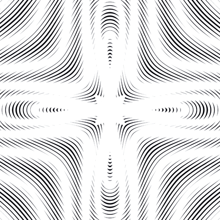 moire: Black and white moire lines, striped  psychedelic vector background.  Op art style contrast pattern.