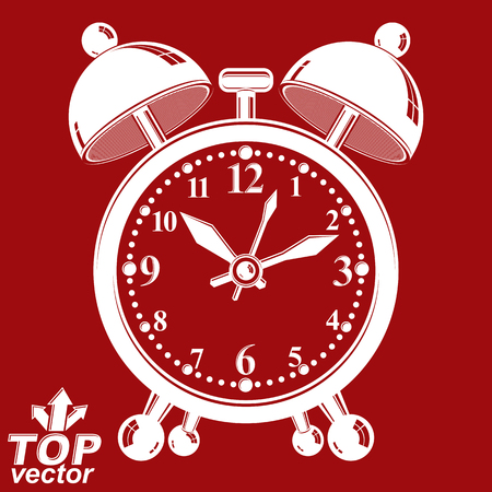 clang: White alarm clock vector 3d illustration isolated on red backdrop, wake up conceptual icon. Graphic dimensional clock with clang bells. Waiter ringing symbol. Illustration