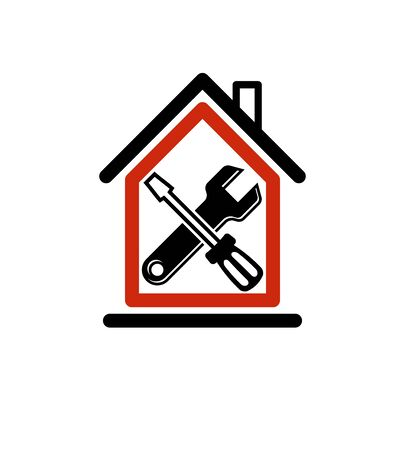 reconstruction: Spanner and screwdriver crossed, industrial theme, workshop vector symbol. Simple house with work tools, home reconstruction idea.