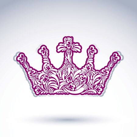 coronet: Flower-patterned imperial crown isolated on white background. Floral decorated majestic coronet, imperial theme vector design element.