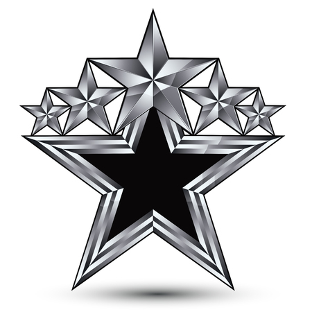 renown: Royal black star with silver outline, geometric five stylized silver stars, best for use in web and graphic design, 3d luxury conceptual vector icon isolated on white background. Symbolic escutcheon.
