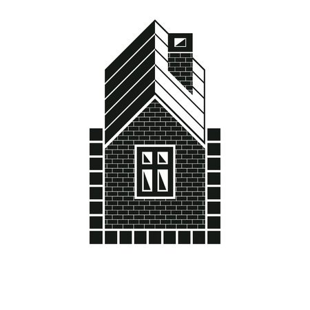 country house: Country house constructed with red bricks, real estate. Creative vector home symbol, can be used in advertising and home insurance business.