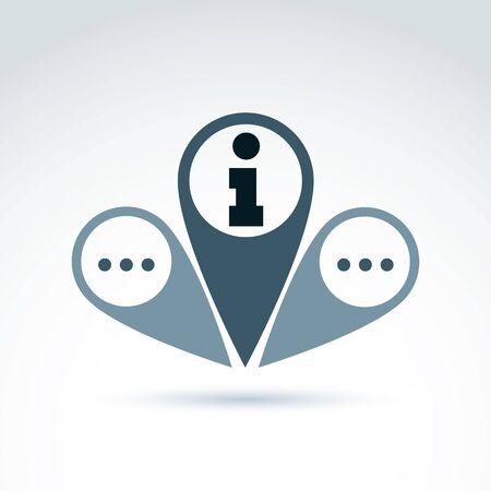 mapa conceptual: Mapa del vector de punteros con puntos y un icono de información. Colocar símbolos ubicación, signo de la información, indicador localidad. Conceptual emblema servicio de consulta.