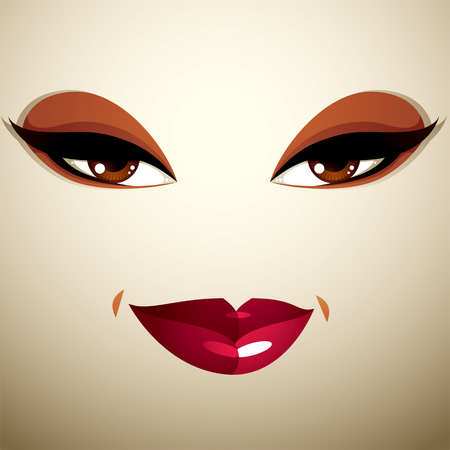 beauty woman: Facial expression of a young pretty woman. Coquette lady visage, human eyes and lips. Illustration