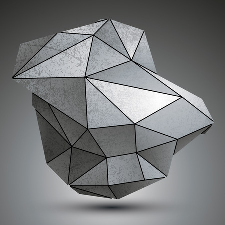 deformed: Deformed dimensional tech grayscale object, 3d complex cybernetic element.