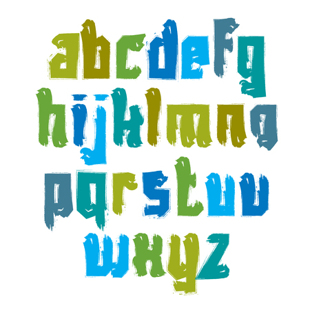 alphabet graffiti: Vector colorful hand-painted letters isolated on white background, stroked lowercase art script.