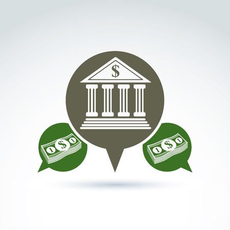 stylized banking: Banking credit and deposit money theme icon, vector conceptual stylish symbol for your design.