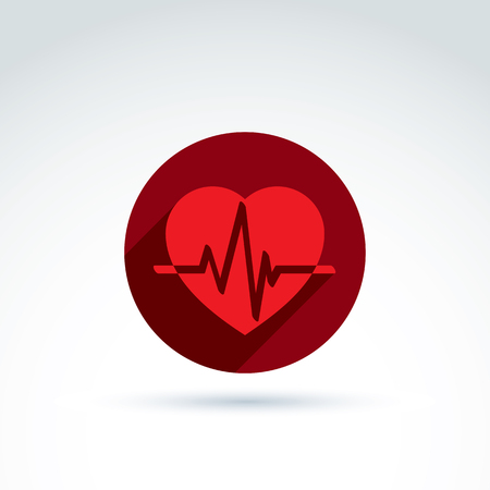 heartbeat line: Vector illustration of a red heart symbol with an ecg placed in a circle, heartbeat line, medical cardiology label. Conceptual passion love icon.
