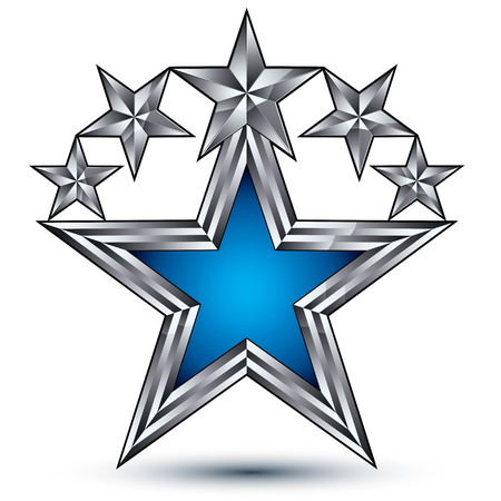 renown: Royal blue star with silver outline, geometric five stylized silver stars, best for use in web and graphic design, luxury conceptual vector icon isolated on white background. Symbolic escutcheon. Illustration