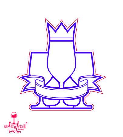 revelry: Simple classic vector three goblets with curvy ribbon and king crown, royal ball and celebration theme illustration. Lifestyle graphic design elements - entertainment idea.