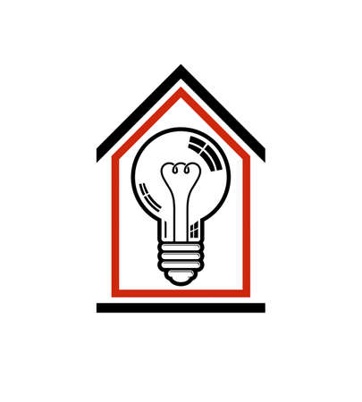 electricity 3d: Construction idea, save electricity at home. 3d vector light bulb and house composition, electrical energy theme. Illustration