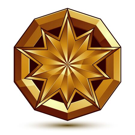 aristocratic: Vector classic emblem isolated on white background. Aristocratic golden star, clear EPS 8. Illustration