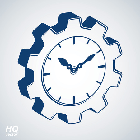 engineering design: Vector 3d retro cog wheel and clock with an hour hand, business organizer symbol. Production process planning conceptual icon. Industry and engineering design element – gear. Illustration