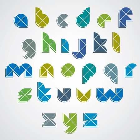 Colorful spherical sectored font with diagonal repartition. Illustration