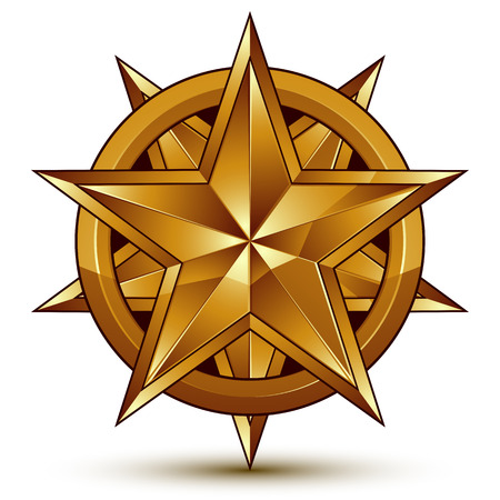golden star: Heraldic 3d glossy icon can be used in web and graphic design, five-pointed golden star, clear EPS 8 vector.