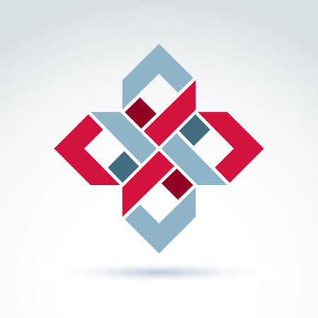 design objects: Bright complex geometric corporate element. Vector abstract emblem with squares and symmetric figures. Illustration
