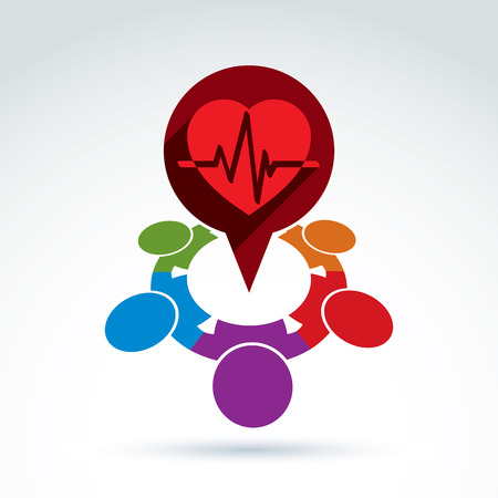 heartbeat line: Different nationalities cooperating for love and health - international forum on medical and cardiology theme.  Conceptual  international Valentines Day sign, heartbeat line. Illustration