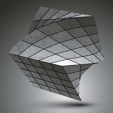 grayscale: Zink squared stylish 3d construction, dimensional grayscale twisted object.