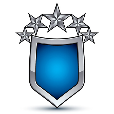 pentagonal: Majestic blue vector emblem with five silver decorative pentagonal stars, 3d royal conceptual design element, clear eps8. Shiny coat of arms isolated on white background. Heraldic escutcheon.