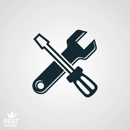 Vector detailed repair tool, service reparation utensil. Industry conceptual icon – screwdriver and wrench crossed. Simple manufacturing design element.