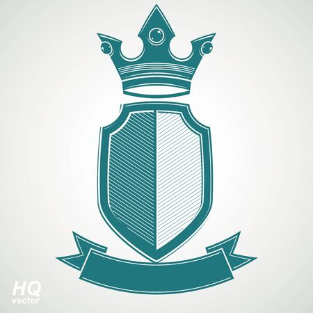 Heraldic royal blazon illustration - imperial striped decorative coat of arms. Vector shield with king crown and stylized ribbon. Majestic element, best for use in graphic and web design.