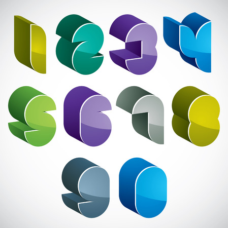 numerals: 3d futuristic numbers set in blue and green colors, colorful glossy numerals for advertising and web design.