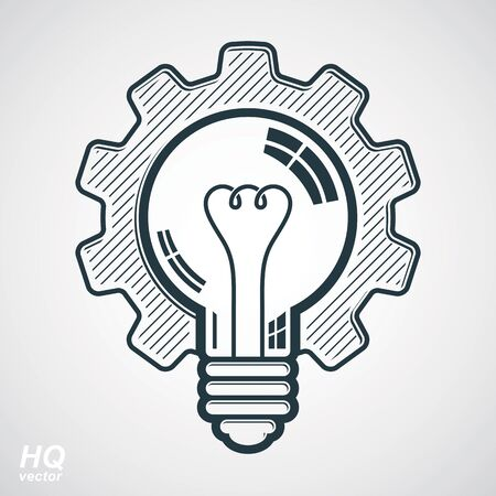 idea: Vector light bulb shape, high quality cog wheel isolated on white background. Technical solution conceptual symbol, manufacturing and business idea icon, retro graphic gear. Industry innovation thought design element.