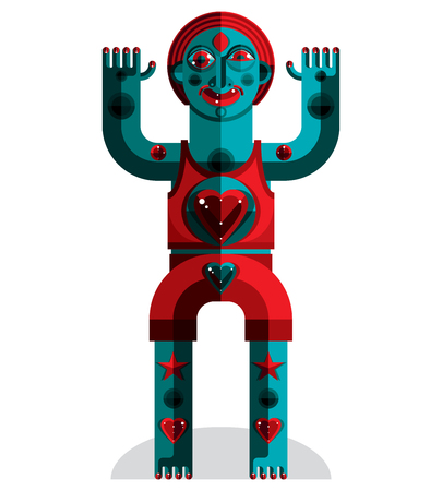 cubismo: Ilustración vectorial gráfico, carácter antropomórfico aislado en blanco avatar moderno, decorativo hecho en estilo del cubismo.