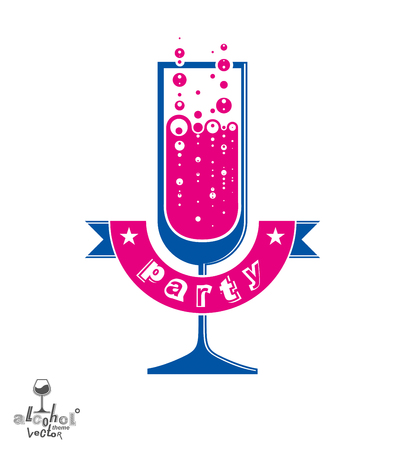 champagne party: Simple vector champagne party goblet with bubbles and festive ribbon. Alcohol beverage graphic design element – anniversary celebration idea, eps8 sparkling wine illustration. Illustration