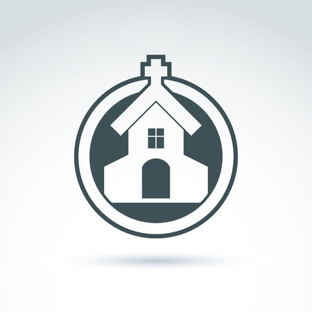 minster: Christian church with a cross. Vector illustration of a temple placed in a circle, religion concept.