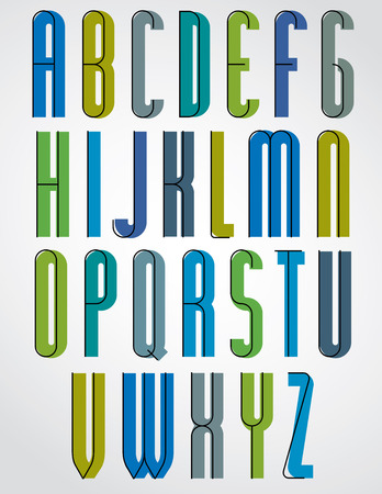 upper case: Colorful binary stylish narrow font, rounded upper case letters.
