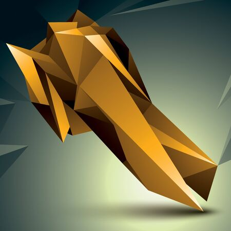 complicated: Geometric abstract 3D complicated object, golden asymmetric element isolated.