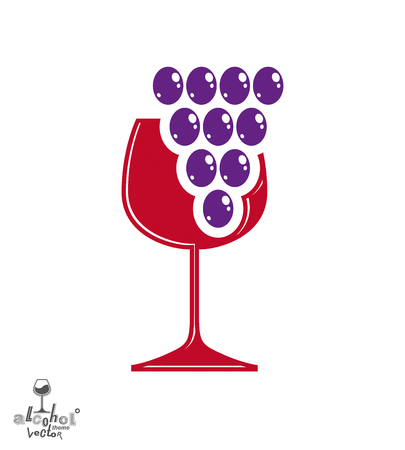 revelry: Winery award theme vector illustration. Stylized half full glass of wine with grape vine and decorative ribbon, racemation symbol best for use in advertising and graphic design.