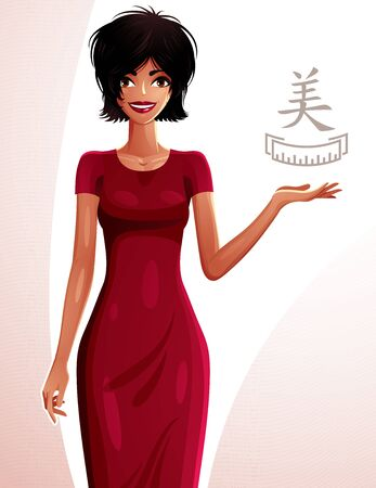 tanned girl: Attractive tanned standing girl showing at empty copy space with her hand, colorful illustration. Sexy woman, well-dressed glamorous chic.