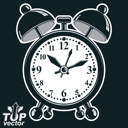 clang: Alarm clock vector 3d black and white illustration, wake up conceptual icon. Graphic dimensional clock with clang bells. Retro timer, invert version.