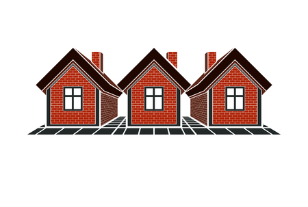 homely: Simple cottages vector illustration, country houses, for use in graphic design. Real estate concept, region or district theme. Building company abstract image.