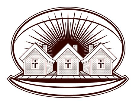 Houses vector detailed illustration, village idea. Graphic country houses image, simple countryside buildings.