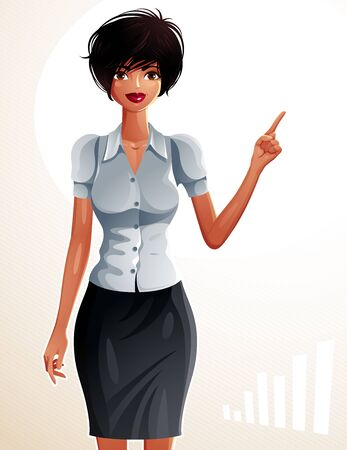dark skin: Illustration of a young pretty businesswoman with a modern haircut. Full body portrait of a coquette lady, dark skin girl pointing finger at some economic trend. Illustration