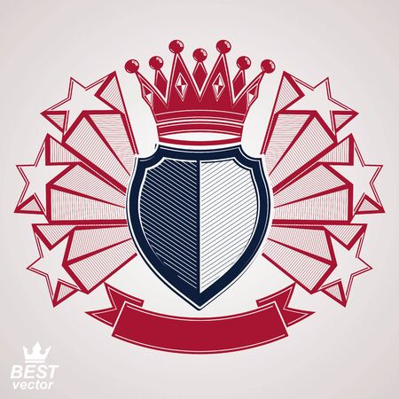 Royal stylized vector graphic symbol. Shield with 3d flying stars and imperial crown. Clear eps8 coat of arms – security idea. Sophisticated coronet, web design blazon.