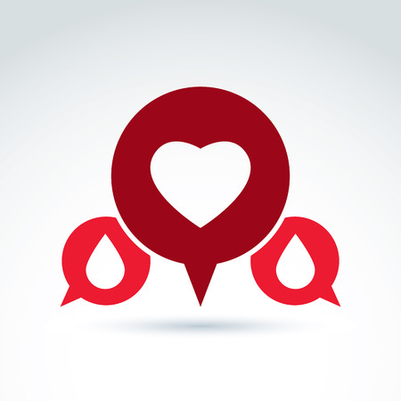 speech bubble hospital: Vector illustration of a red heart symbol with blood drops, medical cardiology label, blood donation symbol.  Conversation on life and health theme. Illustration