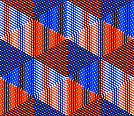 pellucid: Seamless optical ornamental pattern with three-dimensional geometric figures. Intertwine colored EPS10 composition. Illustration