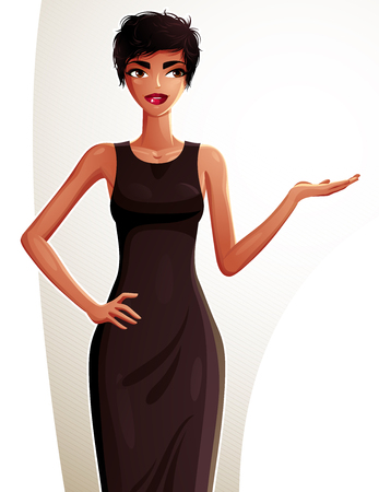 glamorous woman: Attractive dark skin standing girl showing at empty copy space with her hand, colorful illustration. Sexy mulatto woman, well-dressed glamorous chic. Illustration