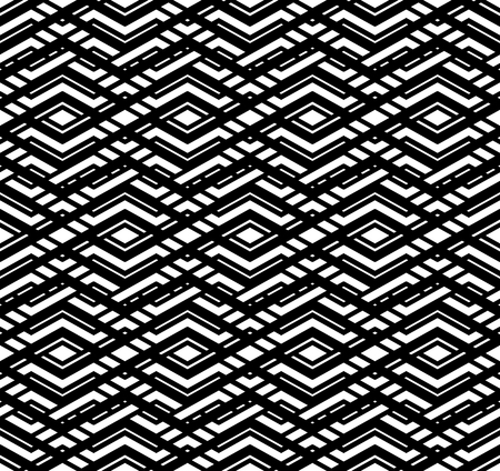 imposing: Modern zigzag contrast geometric seamless pattern. Rhombus graphic contemporary splicing. Imposing black and white infinite backdrop with symmetric ornament. Illustration