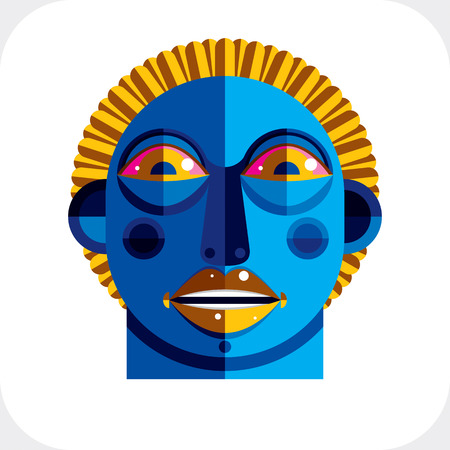 cubism: Avant-garde avatar, personality face created in cubism style. Modernistic geometric portrait, multicolored vector illustration of facial expression.
