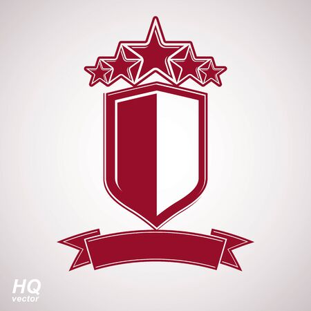 aristocratic: Vector eps8 aristocratic symbol. Festive graphic shield with five stars and curvy ribbon - decorative luxury security template. Corporate branding icon, success concept theme design element. Illustration