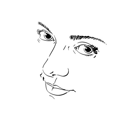 melancholic: Monochrome silhouette of melancholic  attractive lady, face features. Hand-drawn vector illustration of woman visage, outline. Emotions theme illustration. Attractive model.